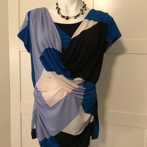 NY&C Blue Geometric Cowl Neck Blouse